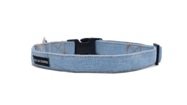 Mutt Ofcourse Personalised Light Blue Denim Dog Collar