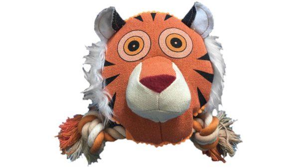 Nutrapet Fluffy Tiger Jute Dog Toy
