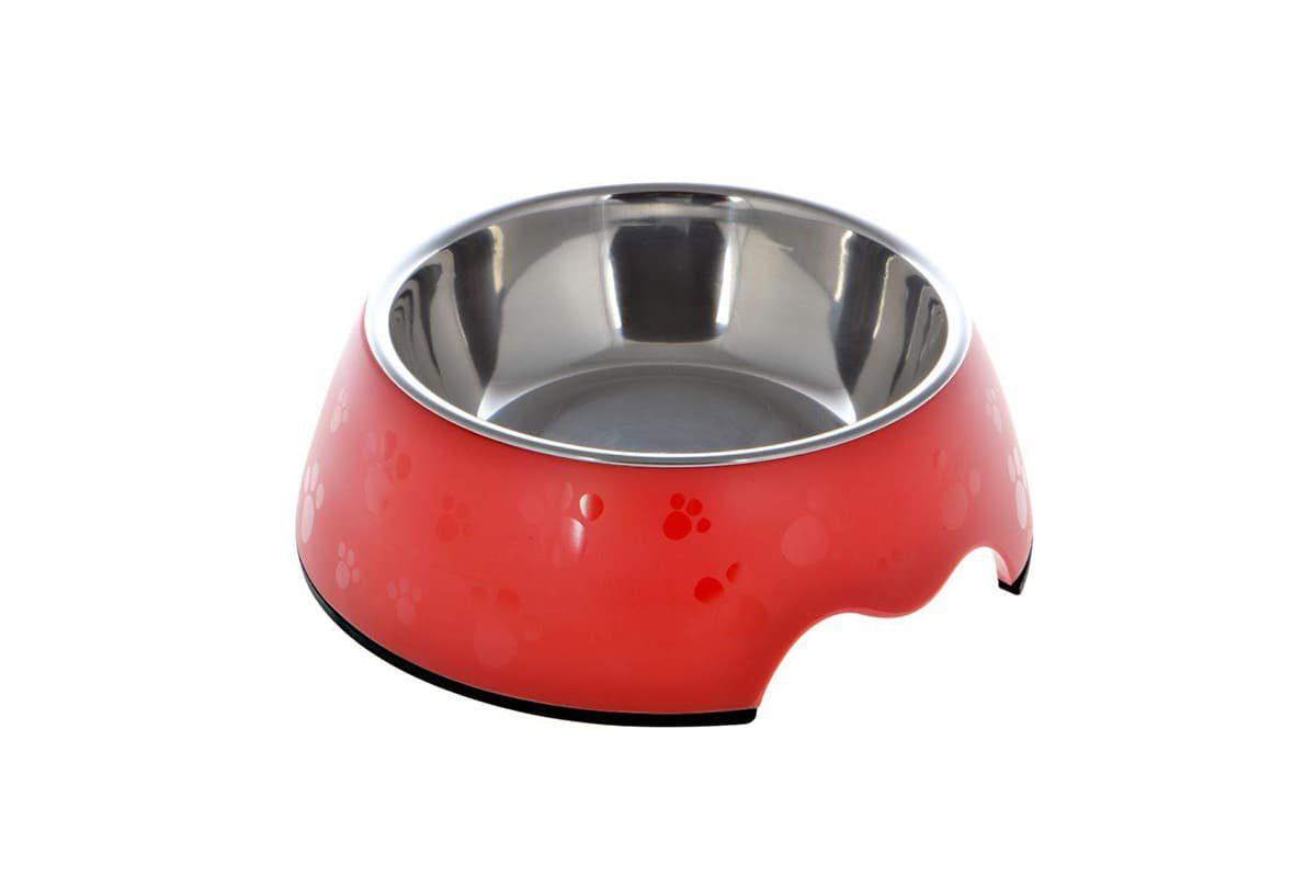 Nutrapet Melamine Round Paw Bowl - Red