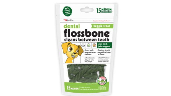 Petkin Wheat Free Dental Flossbone Treat - Medium, 15 count
