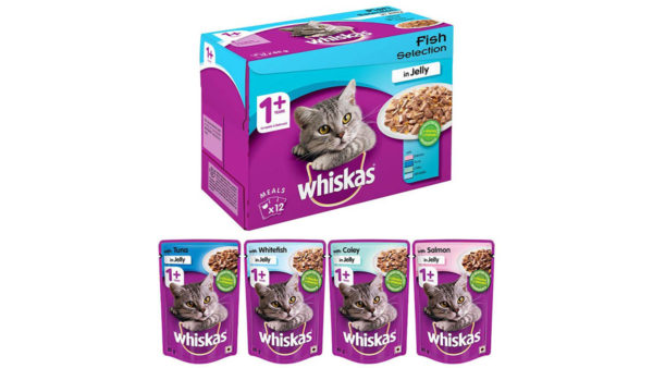 Whiskas Adult Fish Selection in Jelly Wet Cat Food, 12 Pouches (12 x 85g)
