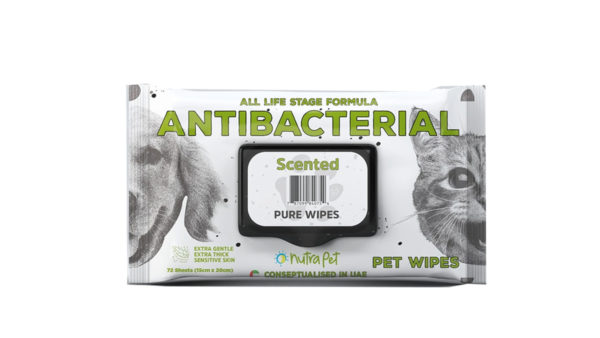 Nutrapet Scented Antibacterial Thick Pet Wipes, 72 Count