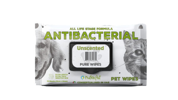 Nutrapet Unscented Antibacterial Thick Pet Wipes, 72 Count